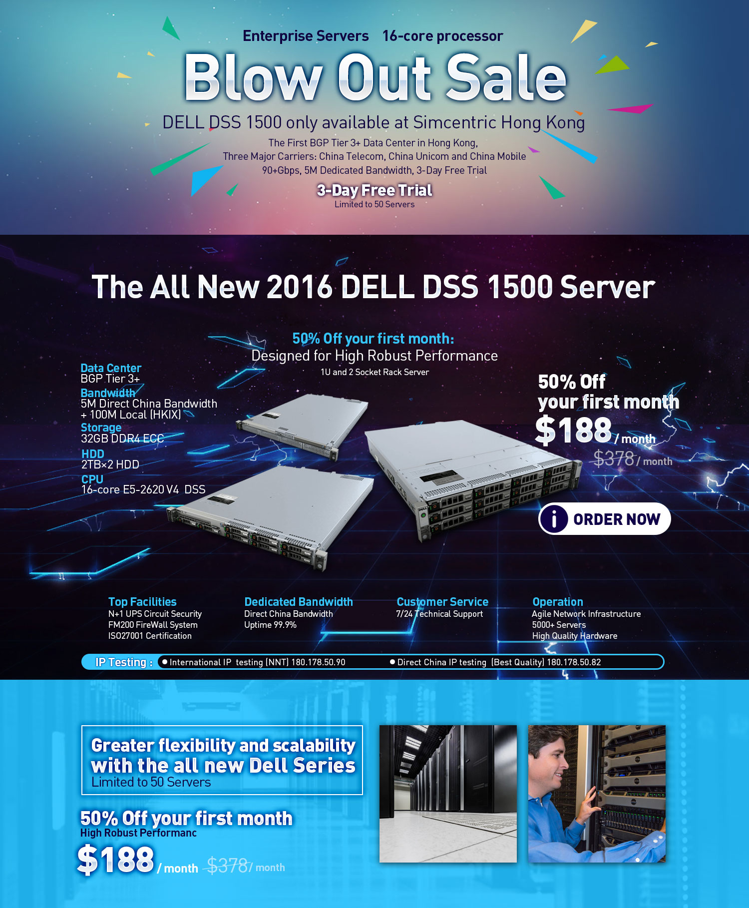 enterprise servers, 16-core processor, Dell DSS1500, 3-day free trial, limited to 50 servers, 50% off your first month, dedicated bandwidth, 90+Gbps