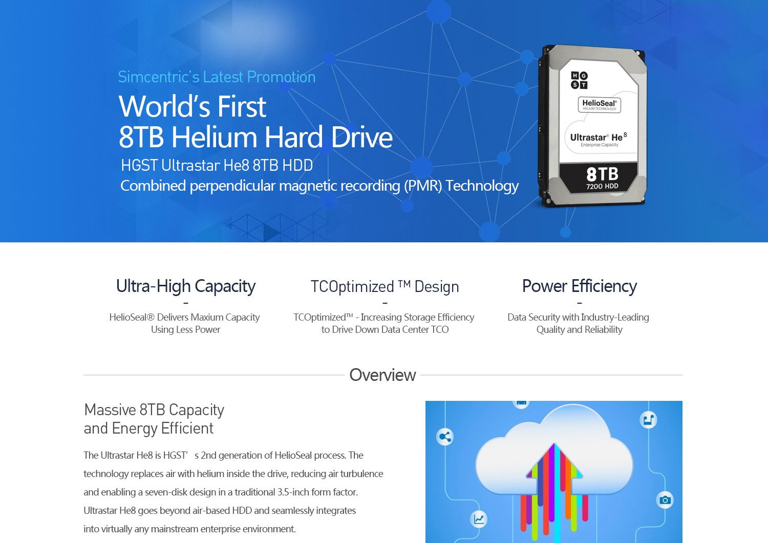 World's first, 8TB helium hard drive, ultra-high capacity, TCOptimizedTM design, power efficiency, three days free trial, breakthrough technology, HelioSeal hard drives